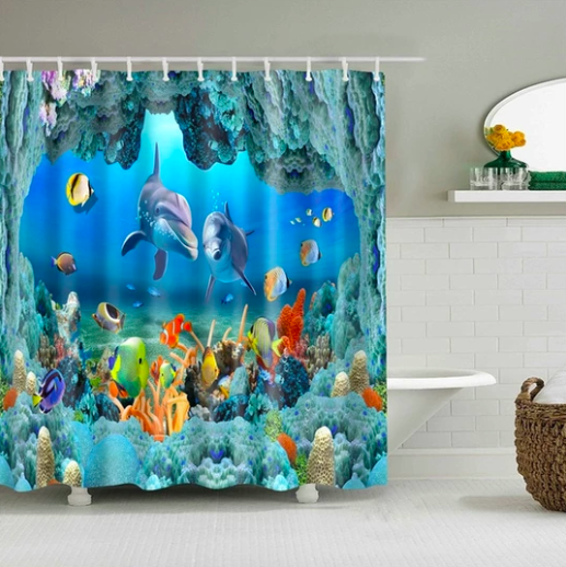Custom Fabric Bathroom Shower Curtain Features High Quality Silky Satin Polyester Blend Vib Fabric Shower Curtains Shower Curtain Art Animal Shower Curtain