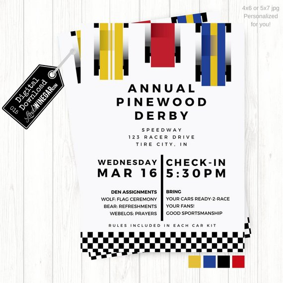 Cub Scout Pinewood Derby Invitation Blue Yellow Red Checkered