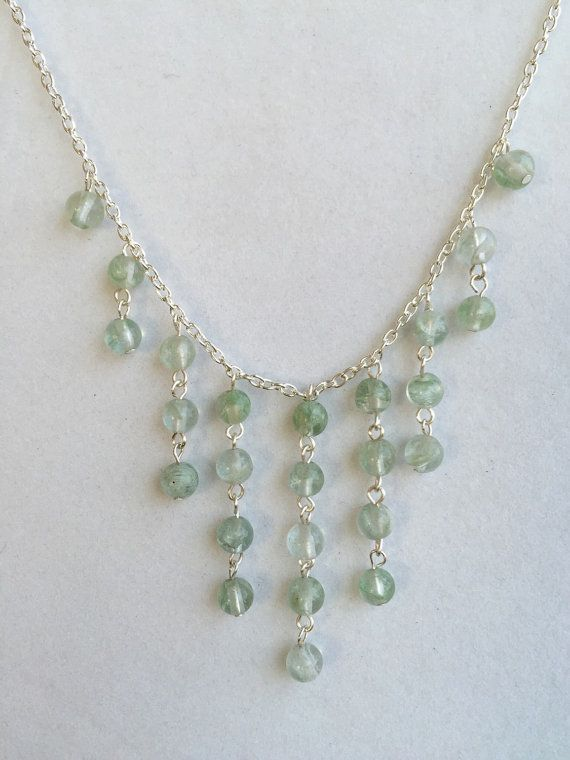 Cascading aqua gems necklace and earring set by BetterWorldJewelry