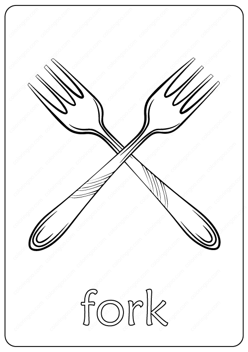 Printable Fork Coloring Page Book Pdf Coloring Pages Color Free Coloring Pages