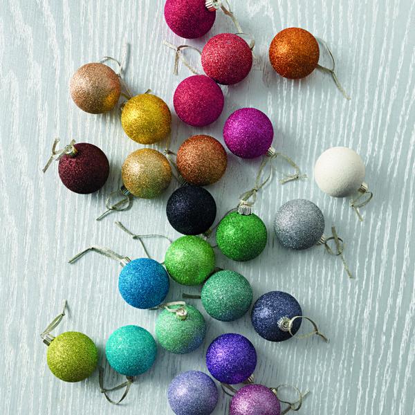 glittered ornaments