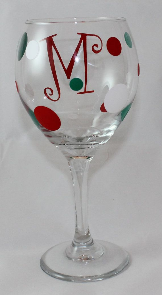 Christmas Wine Glass with Red Initial 20 oz. by TincysCorner