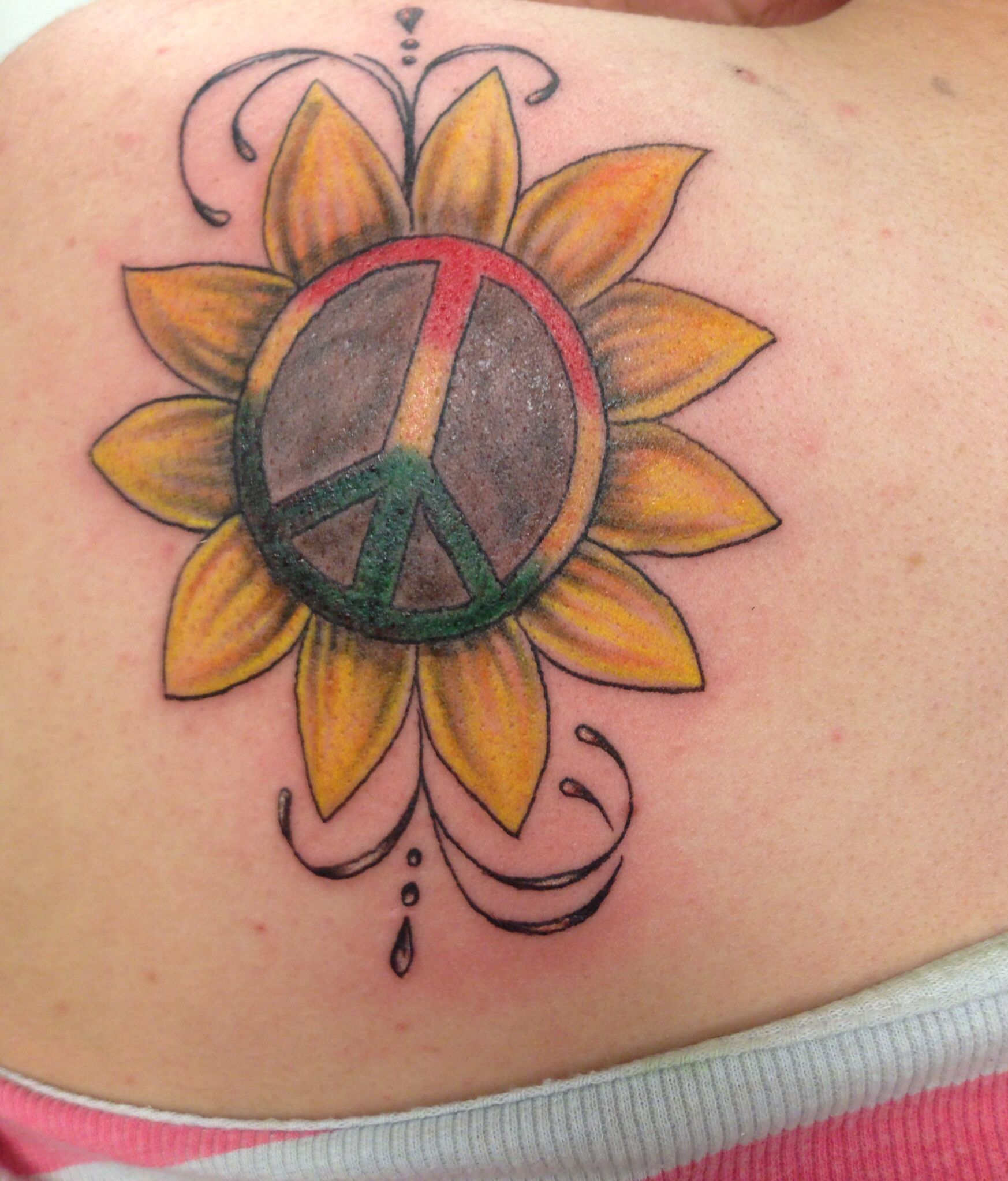 Peace Sign Tattoo With Regard To Tattoo Art Tattoo A To: Sunflower With Rasta Peace Sign Inside