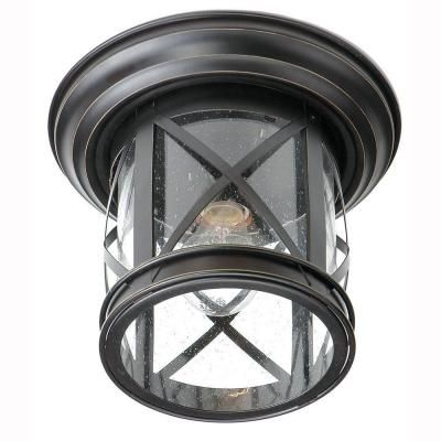Bel Air Lighting Carriage House 1 Light Outdoor Oiled Rubbed Bronze Ceiling Fixture With Seede Outdoor Ceiling Lights Front Porch Lighting Outdoor Flush Mounts