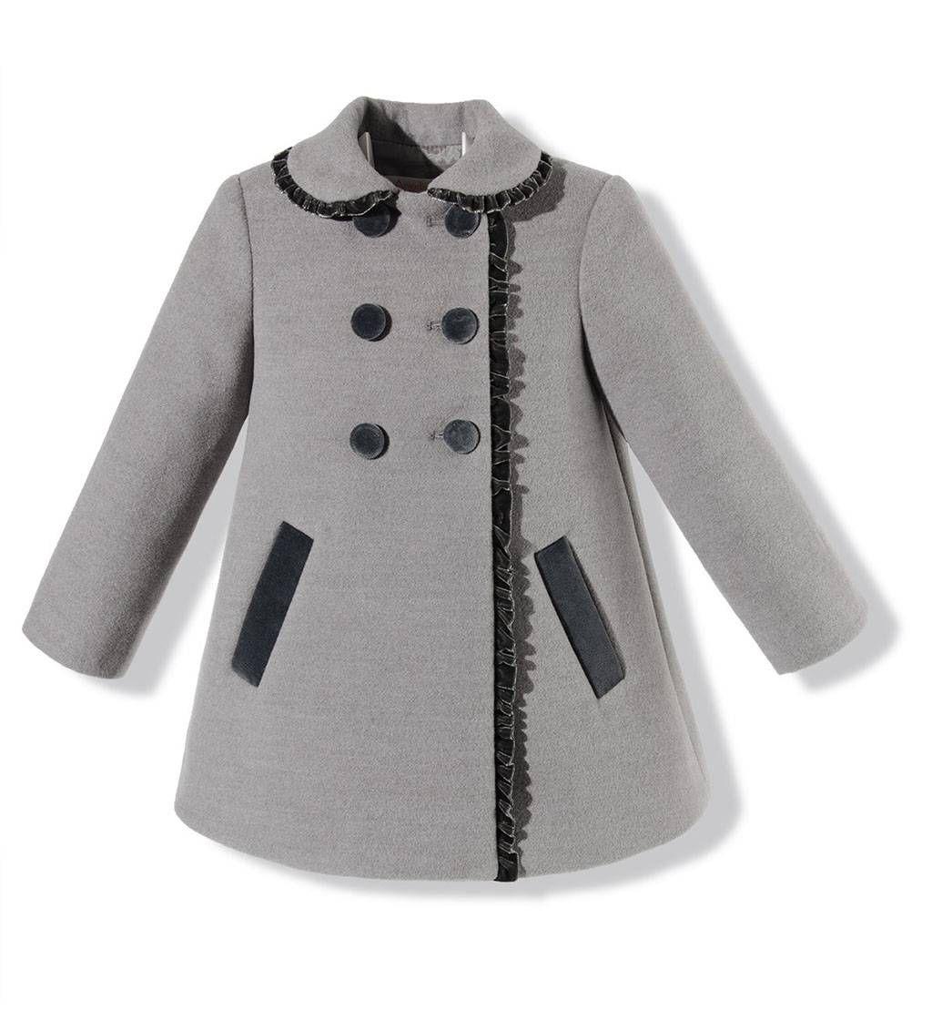 Abrigo para niña en paño gris claro combinado con terciopelo gris oscuro