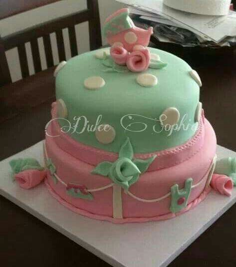 Pink and green Baby Shower cake.