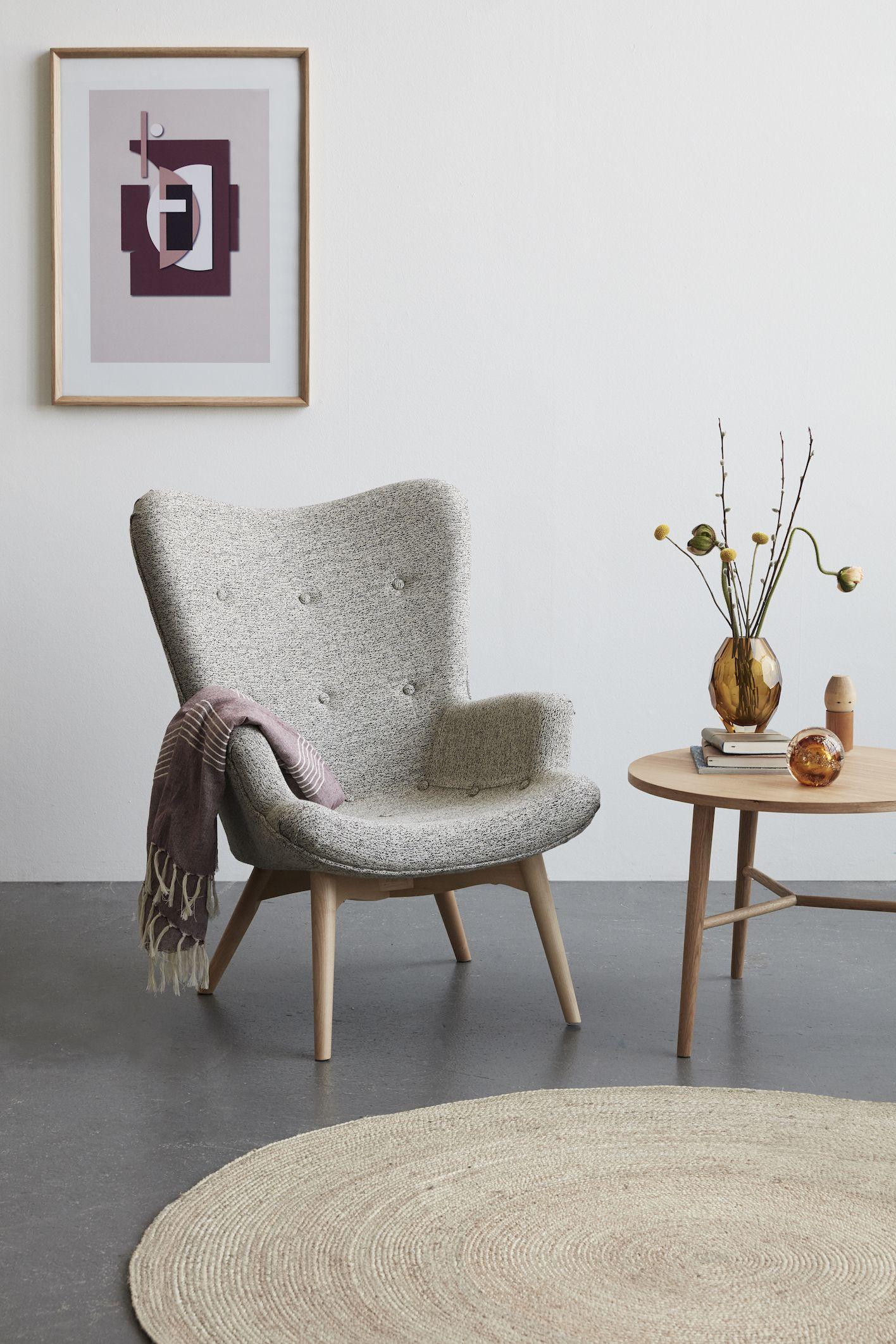 Hubsch Interior Design Ohrensessel Mit Hocker Wohnzimmer Sessel