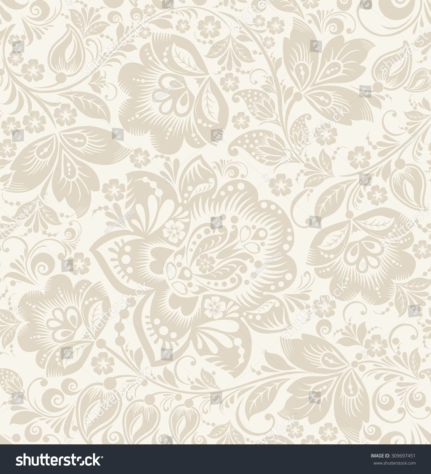 Rustic Scroll Design: Vector Floral Vintage Rustic Seamless Pattern. Background