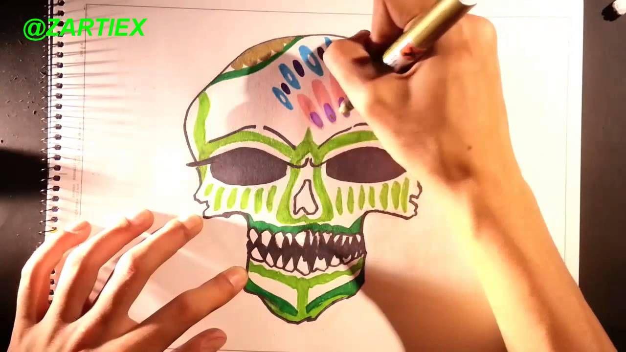 Como dibujar una calavera mexicana paso a paso  How to draw a