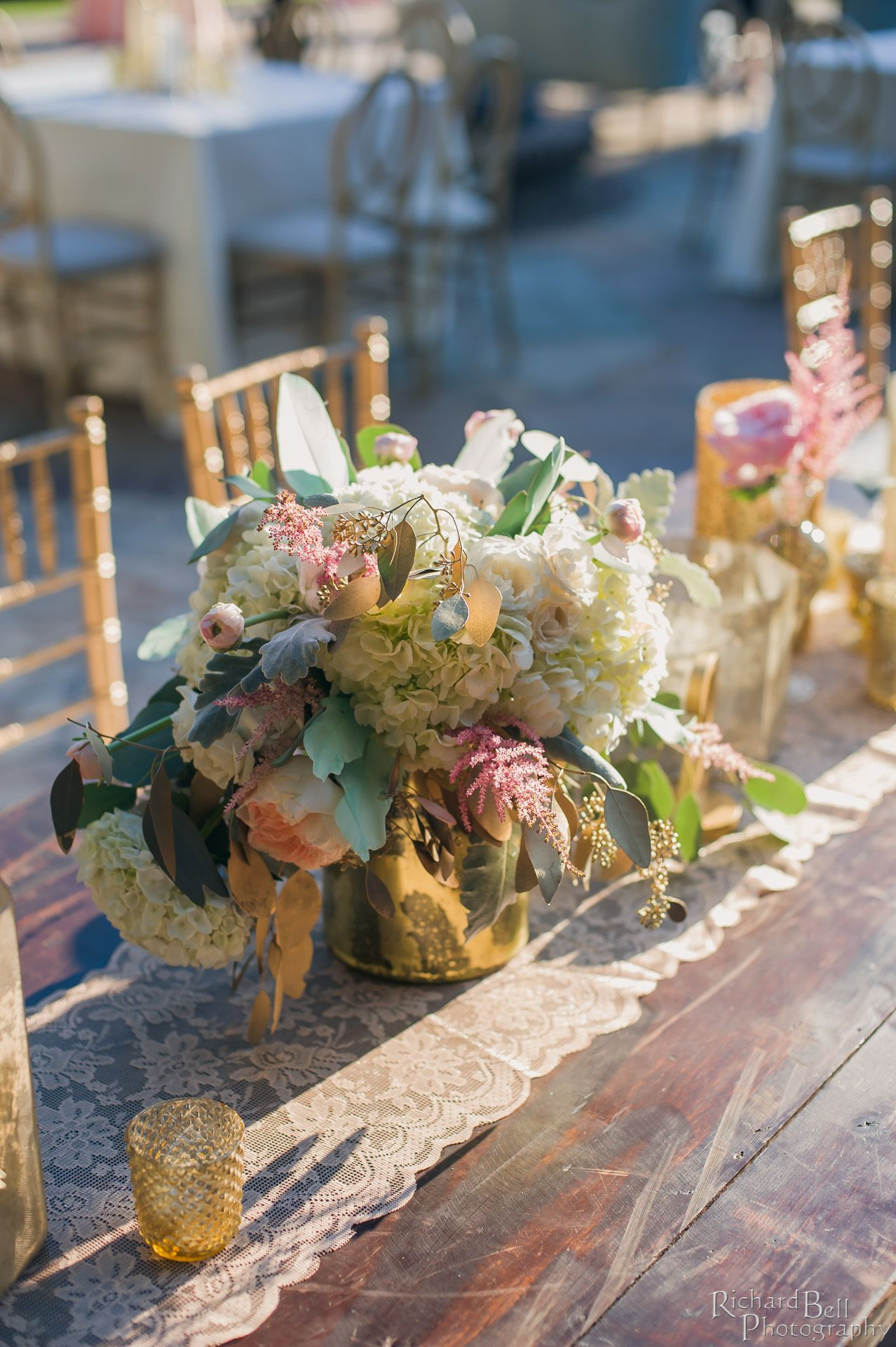 Vintage Floral Centerpiece Vintage Gold Southern Wedding At The