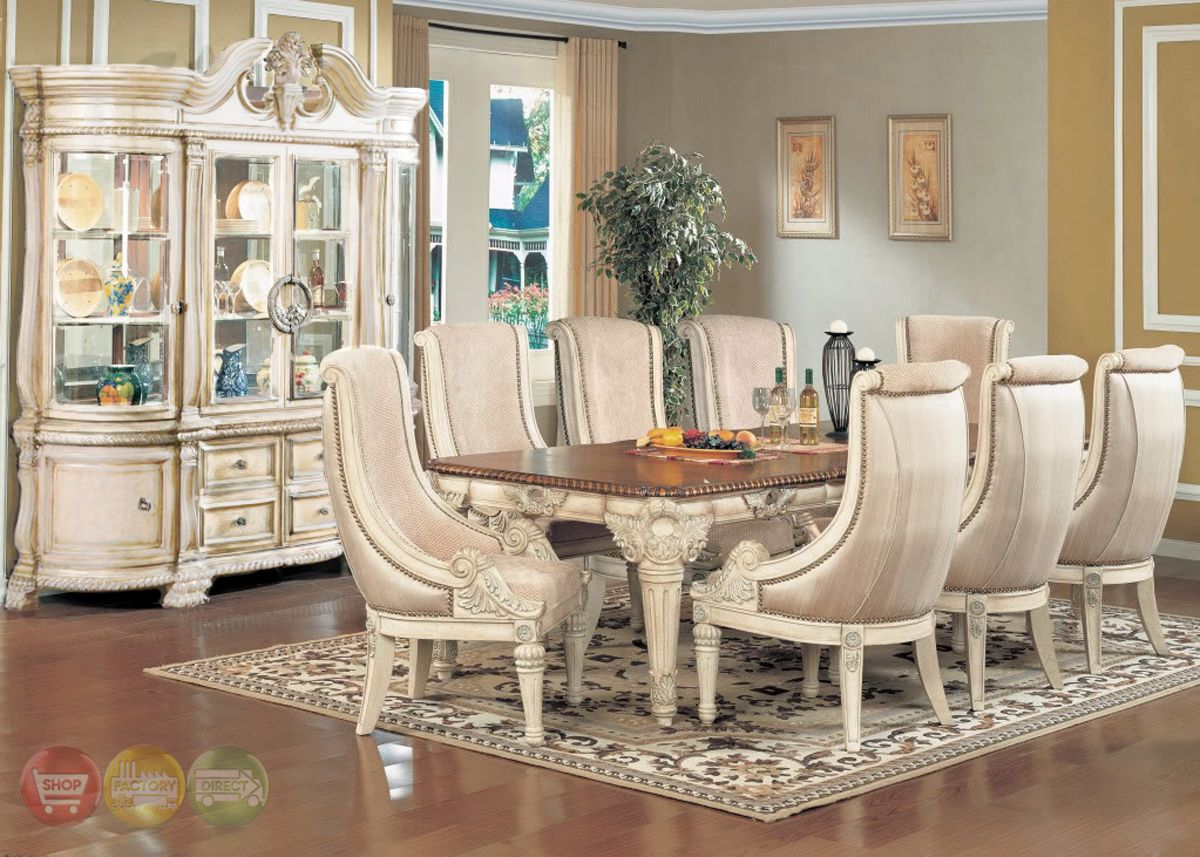 Halyn Antique White Formal Dining Room Set With Extension