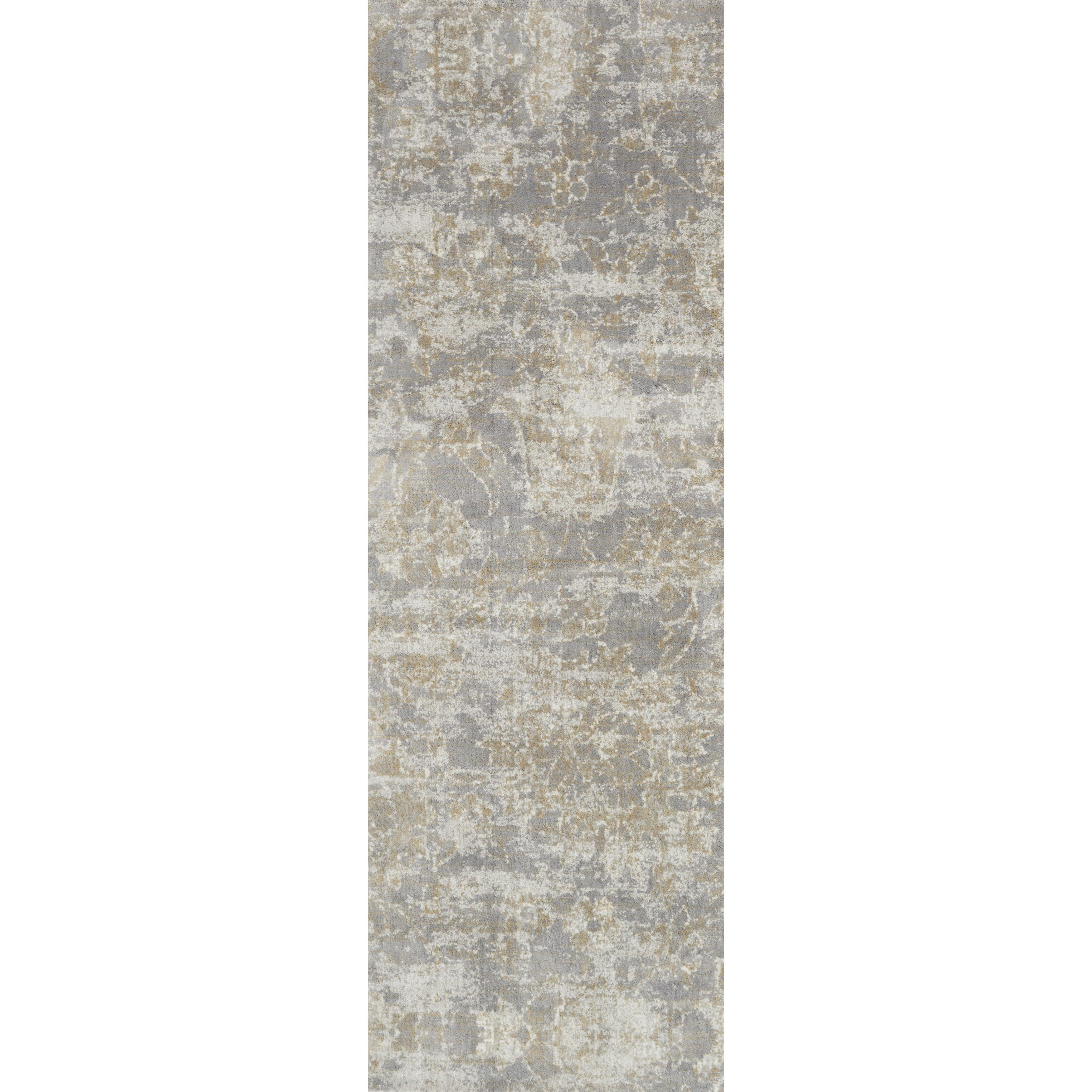 Alexander Home Microfiber Verona Slate Floral Rug 2 7 X 8