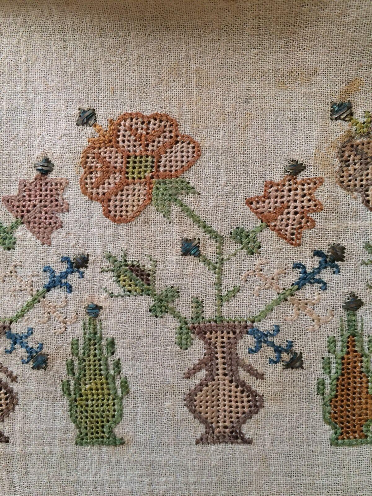 19th C Antique Ottoman Turkish Hand Embroidery On Linen Sash
