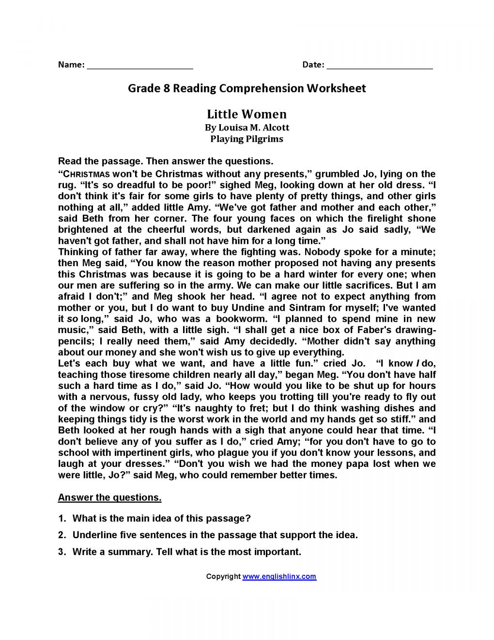 7 Reading Comprehension Grade 8 Worksheet Reading Chartsheet Net In 2020 Reading Comprehension Worksheets Reading Comprehension Reading Worksheets