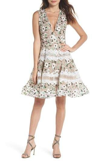 28c0e5a07cd2 BRONX AND BANCO Boni Embroidered Plunging Fit   Flare Dress ...