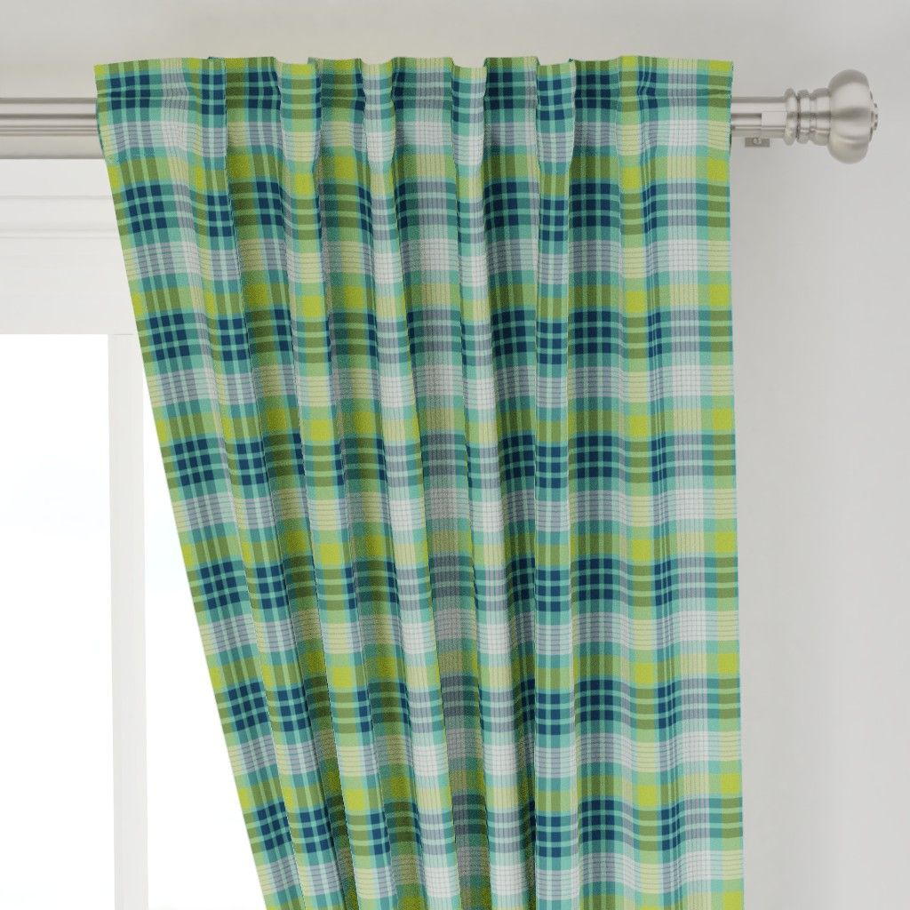 Aqua Blue Lime Green And Navy Plaid Curtains Navy Curtains Plaid Plaid Curtains