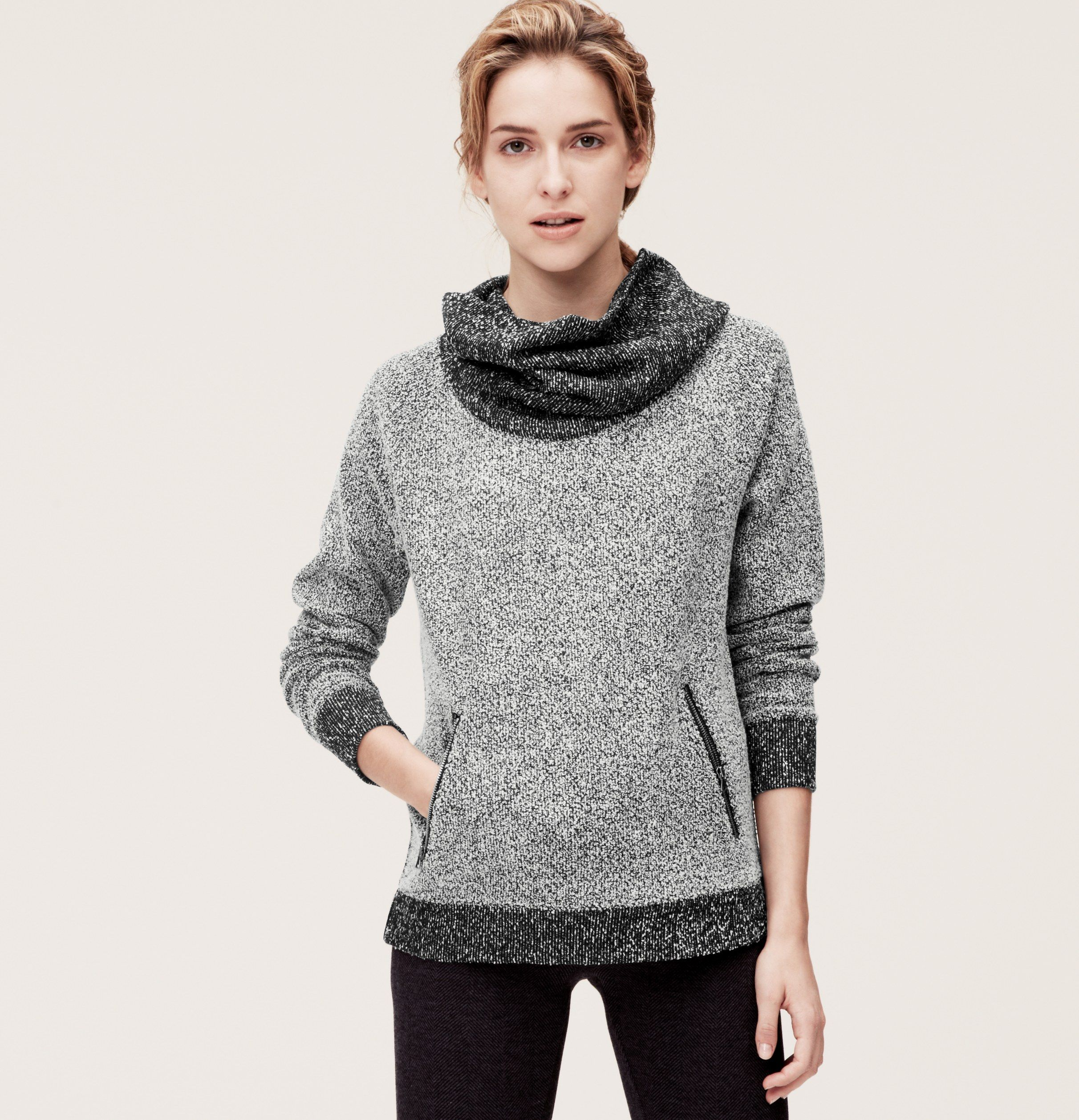 Textured Cowl Neck Zip Pocket Top | Loft | Outerwear | Pinterest ...