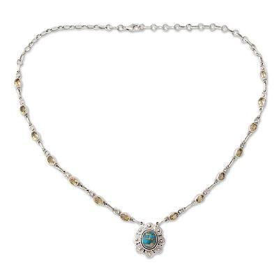 Photo of Halskette aus Indiens Silber und Citrin mit zusammengesetztem Türkis, …
