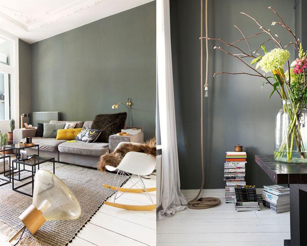 Kleur muur bij grijze bank for Interieur kleuren 2017