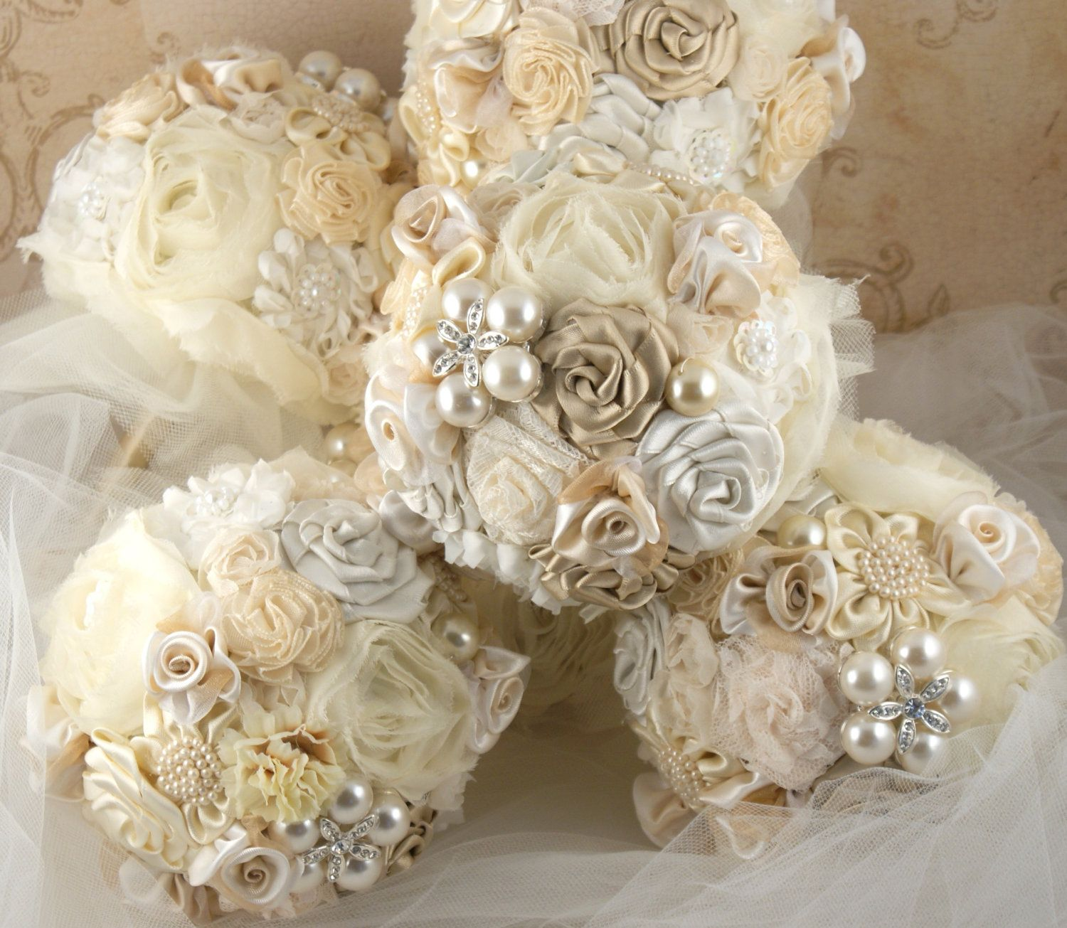 Bridesmaids Brooch Bouquets Wedding Bouquet in Champagne and Ivory ...