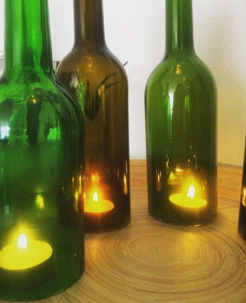 Flaschen Upcycling L Alte Weinflaschen Schneiden L Deko Für Die Fensterbank  L Teelichter