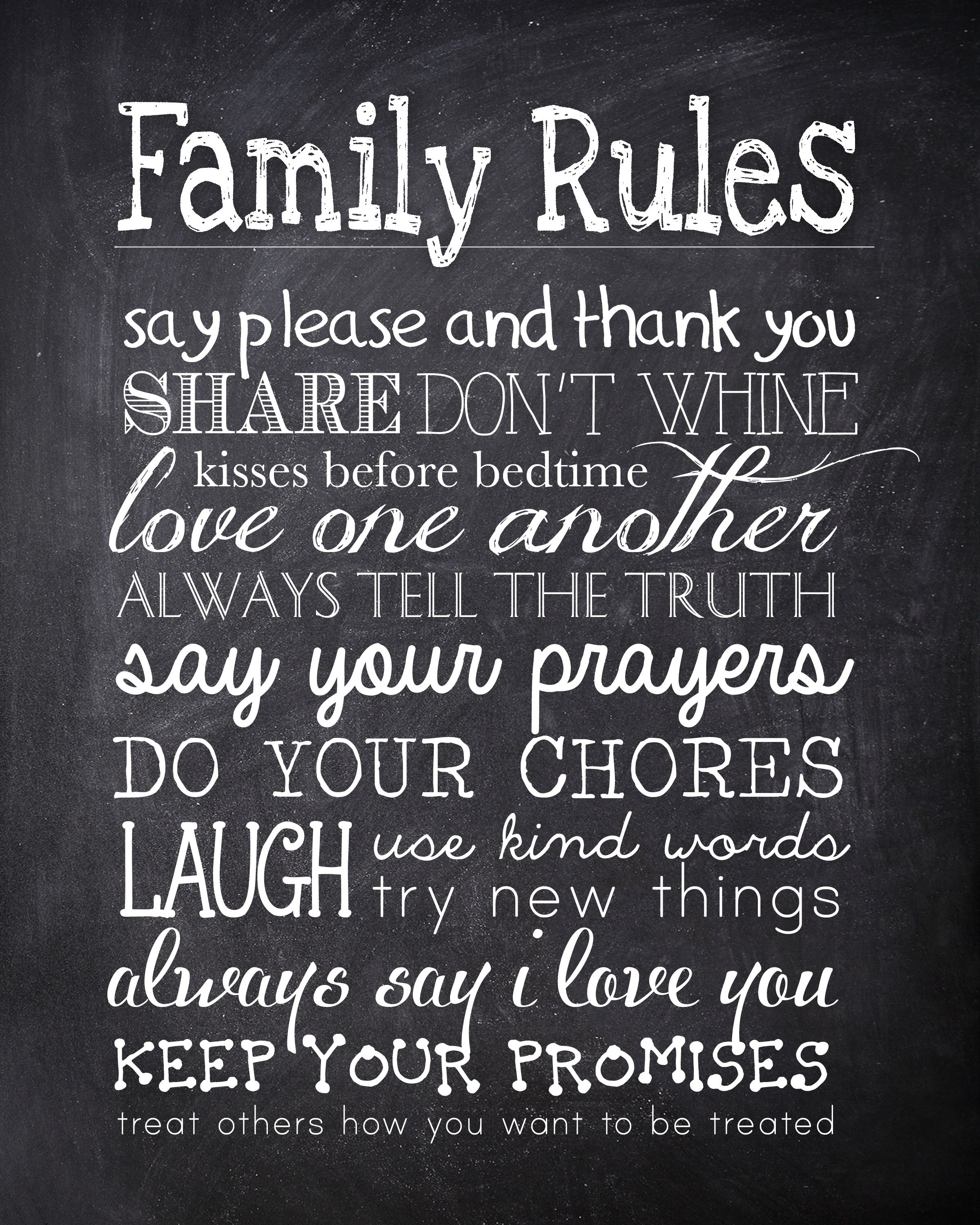 Family Quotes On Pinterest: Family Rules {free Printable