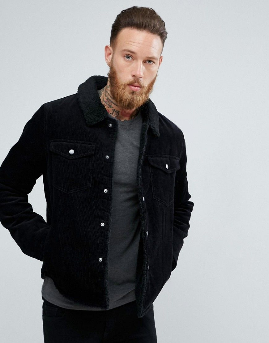 19d09d1029 ASOS Fleece Lined Cord Jacket In Black - Black