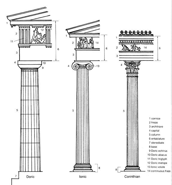 labeled parts of greek columns columns