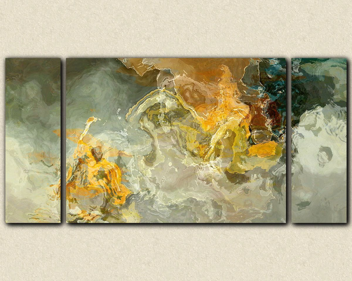 Oversize triptych abstract art canvas print, 30x60 to 40x78 on ...