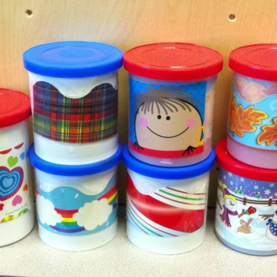 Frosting containers as storage for borders- so much better than the long cardboard boxes!