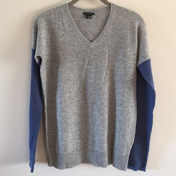 e2f55aed38d Theory Color Block Cashmere Sweater Finely knit gray V neck with blue  sleeves. 100% cashmere. NWOT. Never worn. Beautiful sweater. Price is firm.