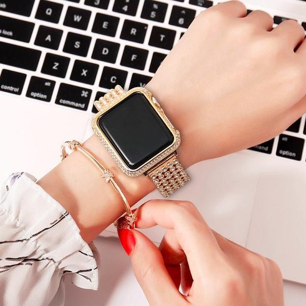 Apple Watch case bezel cover, 18 kt gold bling lab diamond