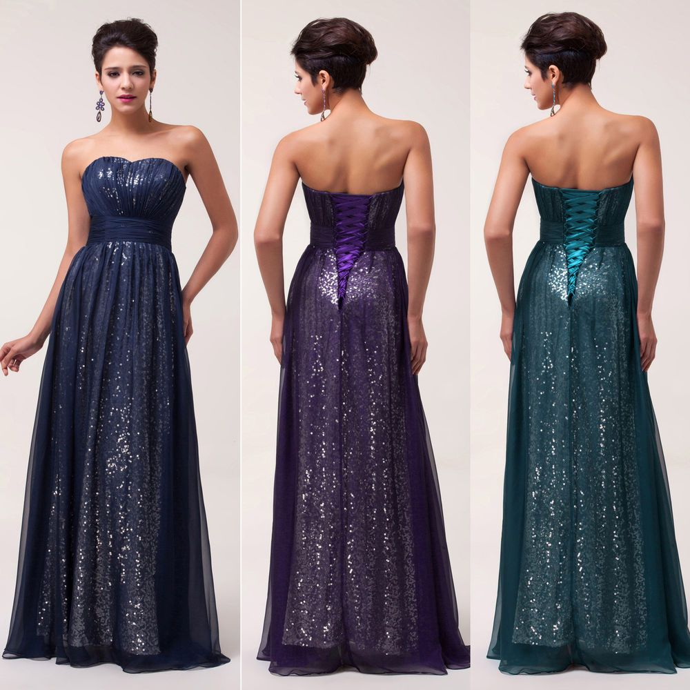 Sexy long sequins wedding bridesmaid formal gown ball party evening