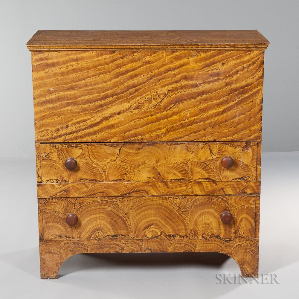 Putty Painted Pine Blanket Chest Over Two Drawers New England  # Meubles Rustiques Anciens