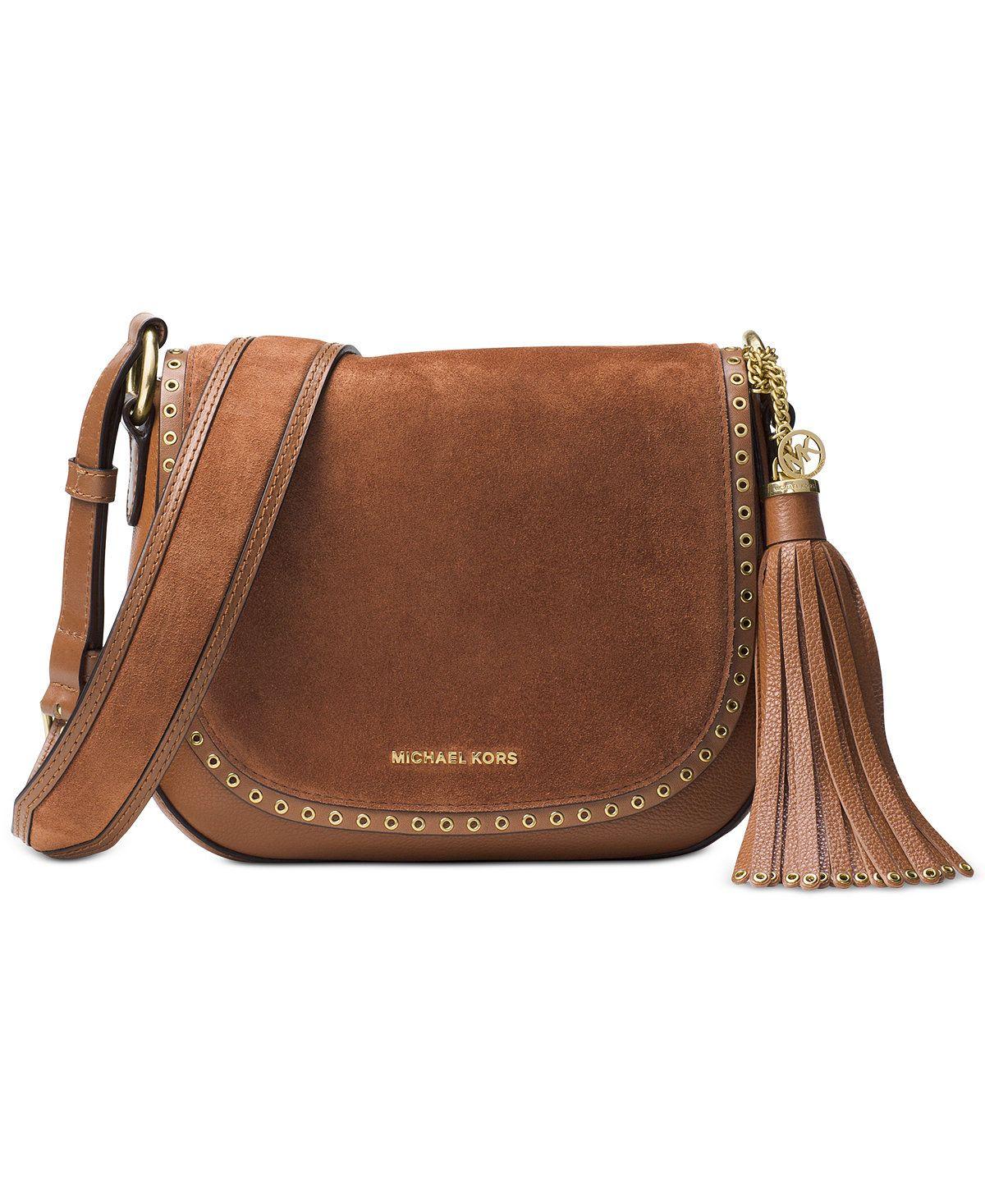MICHAEL Michael Kors Brooklyn Suede Medium Saddle Bag - Designer Handbags -  Handbags \u0026 Accessories -