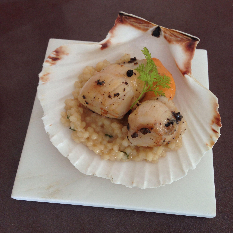 Risotto con mini arroz + leche de coco + St. Jacques + guayabita
