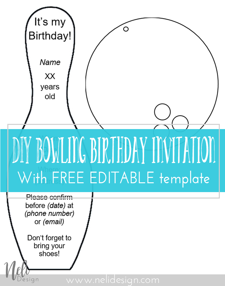 DIY Bowling Birthday Invitations