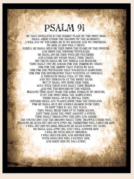 graphic regarding Psalm 91 Printable named Psalm 91 poster. Substantial A1 Psalm 91 Printable Wallart Bible