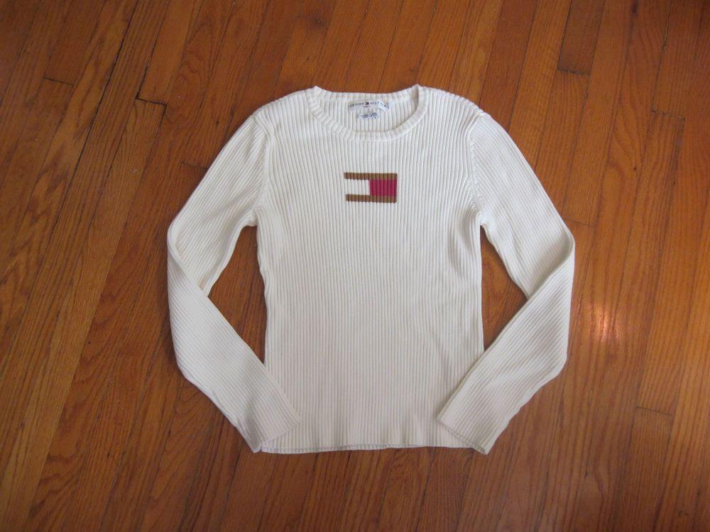 b5e6c9095 TOMMY HILFIGER Jeans Women's Ivory Logo Knit Sweater XL XLarge Made in JAPAN  #TommyHilfiger #Crewneck