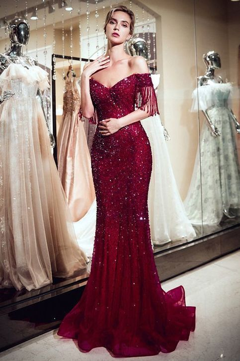 Brilliant Off Shoulder Prom Dress,Full-length Mermaid Evening Dress ,Party Dress With Beading – rochii