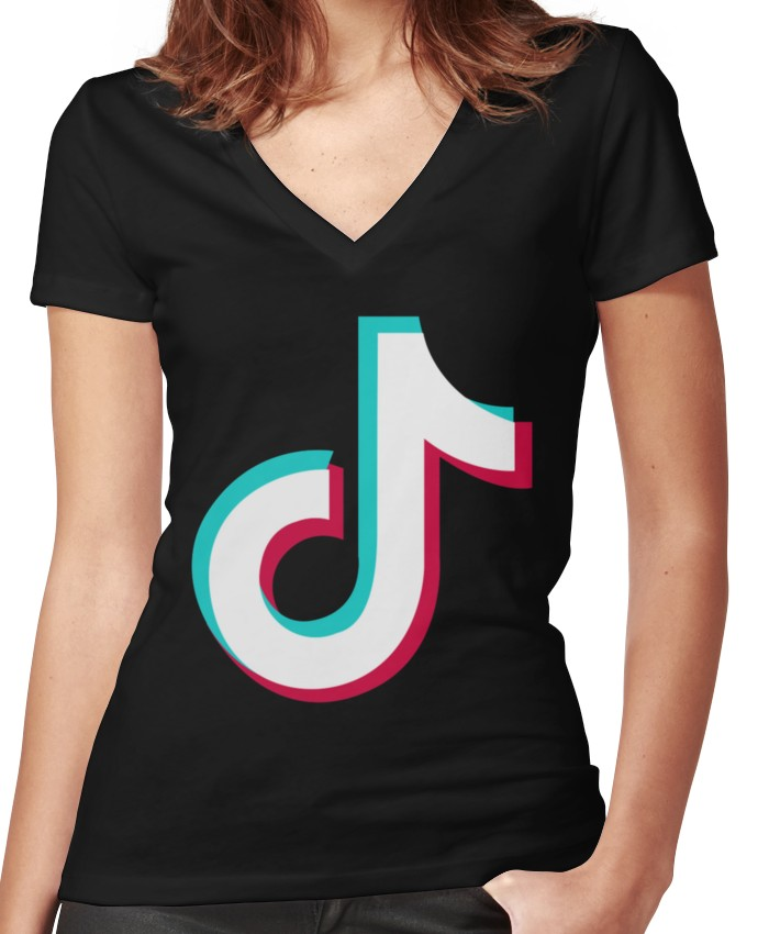 13e05616aecb Tik tok Women's Fitted V-Neck T-Shirt | Products in 2019 | Tik tok ...