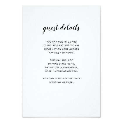 modern script black and white guest information enclosure card