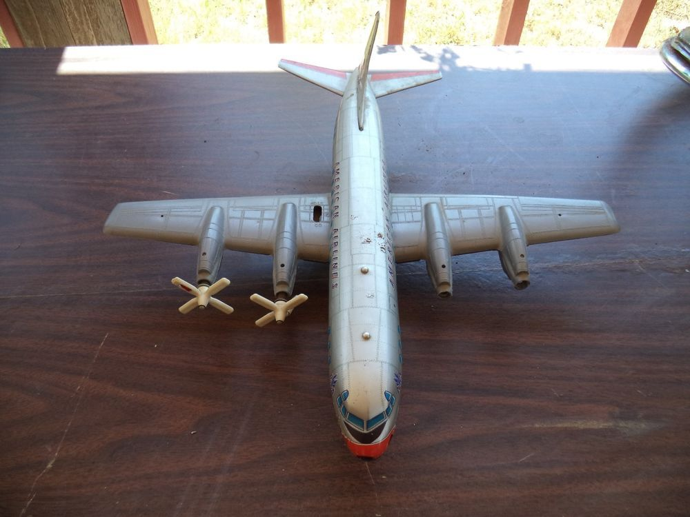 """Vintage American Airlines Airplane """"Y"""" Tin Tinplate Friction N6100A Toy Japan #YJapan"""