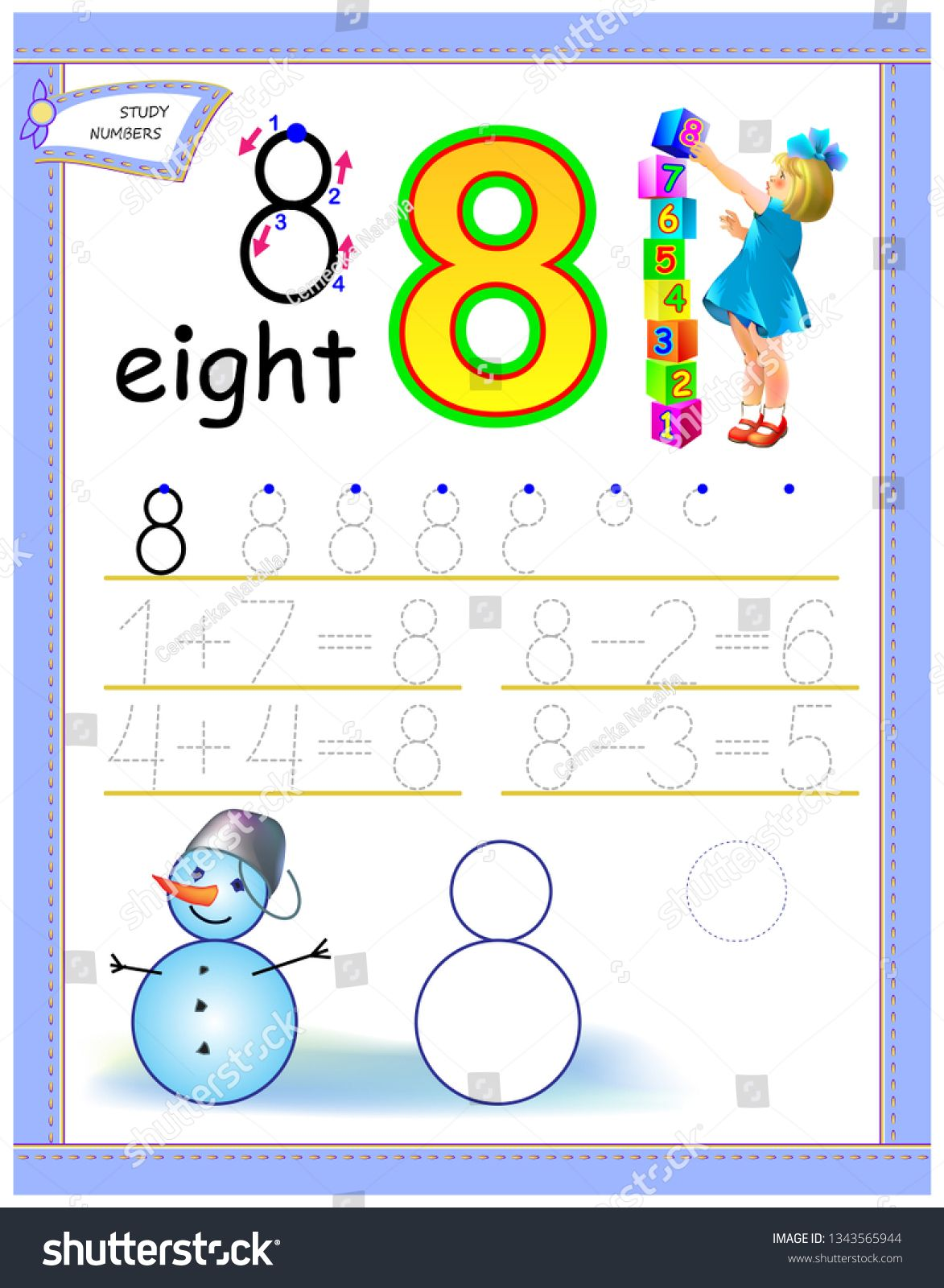 Educational Page For Kids With Number 8 Solve