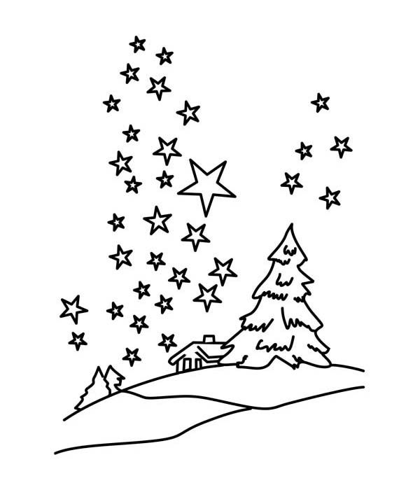 Clear Winter Night Sky With Million Of Stars Coloring Page Star