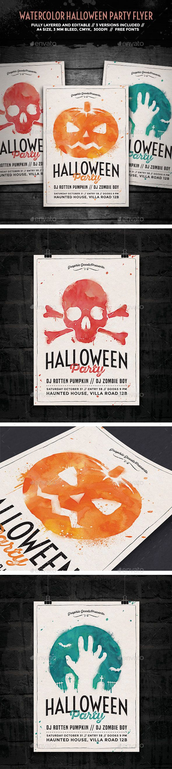 Watercolor Halloween Party Flyer  Halloween Party Flyer Party