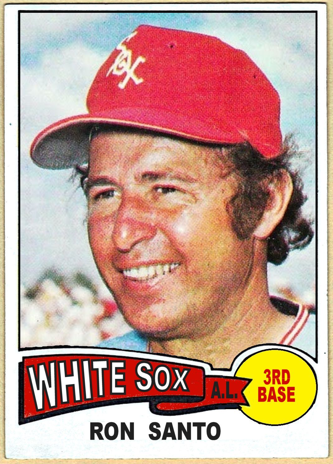 1975 ron santo with images white sox baseball