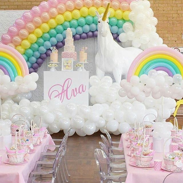 Decoracin para cumpleaos de unicornios Pinterest Unicorns