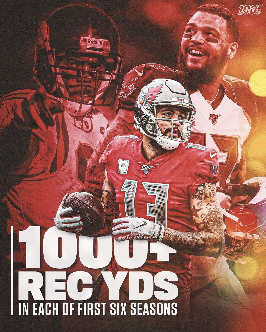 Nfl Mikeevans Is Just The Second Player Ever With At Least 1 000 Receiving Yards In Big4 Bigfour Big4 Nfl Two By Two National Football League