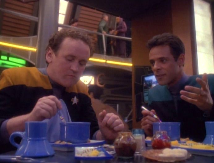Chief Ou0027Brien and Doctor Bashir sharing a meal on the Promenade - dr bashir i presume